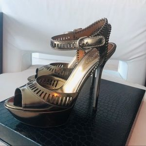 Sergio Rossi Bronze Leather Heels